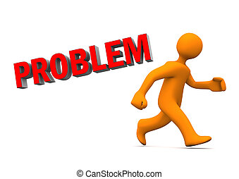 Problem Run Away - Orange cartoon character runs with red...