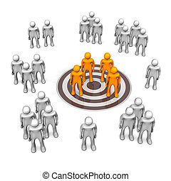 Target Audience Groups - Target audience with manikins and...