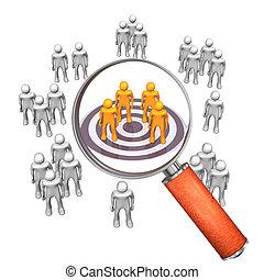 Loupe Target Groupe - Target groups with target and loupe on...