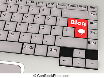 Keyboard Blog - Key console with red key and the text Blog.