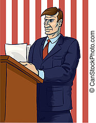 Speaker with American colors - Speaker giving keynote in...
