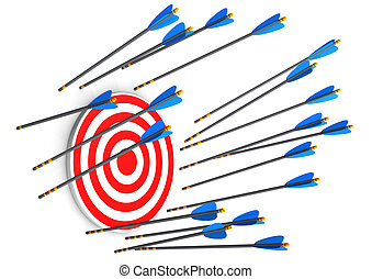 Missed - Red target with missed arrows on the white...