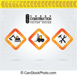 under construction over grunge background vector...