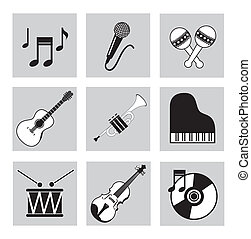 musical icons over white background vector illustration