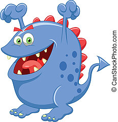 Cute blue monster cartoon - Vector illustration of Cute blue...