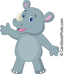 Cute rhino cartoon waving - Vector illustration of Cute...