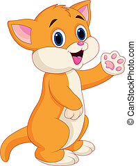 Cute baby cat cartoon - Vector illustration of Cute baby cat...