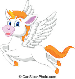 White unicorn horse cartoon - Vector illustration of White...