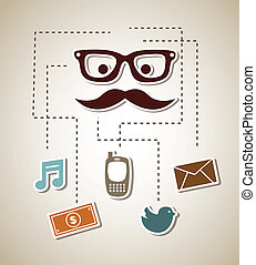 communications icons over beige background vector...