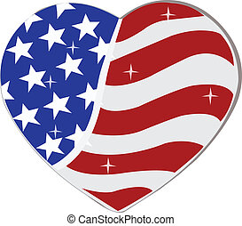 USA Flag in heart shape. - USA Flag in heart shape can be...