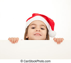 little girl with santa hat holding a white banner isolated...