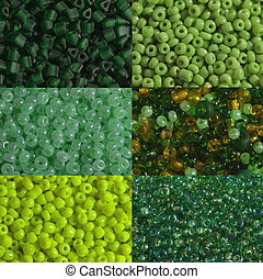 Green beads macro - Six options of a shade and the size of...