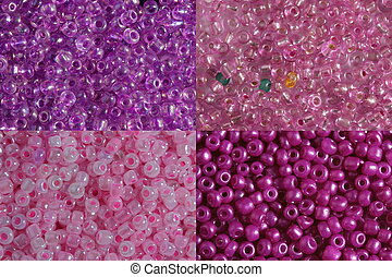 Sets of pink beads - Four options of a shade and size pink...