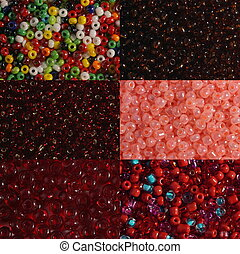 Sets of red beads - Six options of a shade and size red...