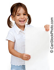 little girl holding a white banner isolated on white