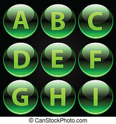 Green glossy alphabet letters (A-I) on black