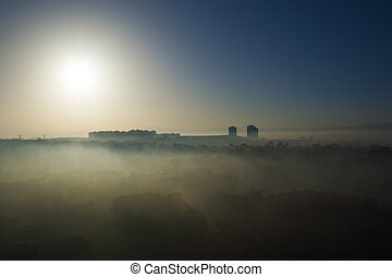 Algiers in the mist - Overview of Algiers in the mist at sun...