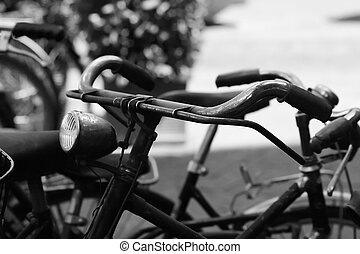 Old bike handlebar - Black and white of the handlebar of an...