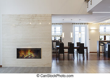 Grand design - Fireplace and dining room - Grand design -...