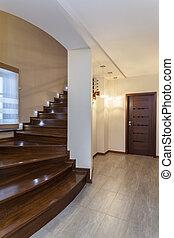 Grand design - Wooden stairs - Grand design - Dark wooden...