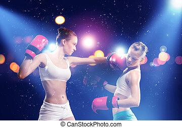 boxe, dois, bonito, mulheres