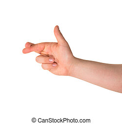 Cross your fingers hand gesture isolated - Cross your...