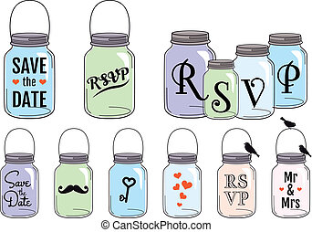 Jar designs, vector set - Save the date invitation designs...
