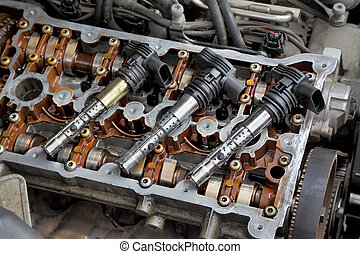 Automotive - Ignition coil on car gasoline engine with two...