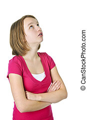 Teenage girl looking up - Teenage girl rolling her eyes in...