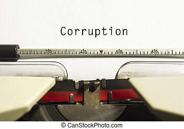 corruption concepts, with message on typewriter paper