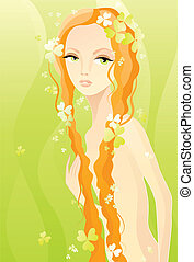 Naked girl on green - Vector illustration of a naked girl on...