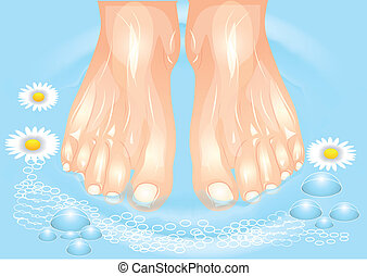 foot care. foot bath with a camomile