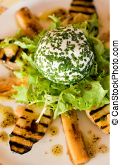 Rosary Goat Cheese Salad on a bed of griddled new potatoes