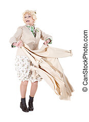 Dancing granny, isolated on white background - Granny enjoys...