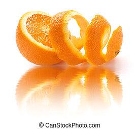 peeled orange and reflection - orange peel, orange rind, on...