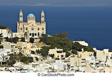 Syros island in Greece - Ermoupolis town at Syros island in...