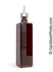 Vinegar in glass bottle on white background