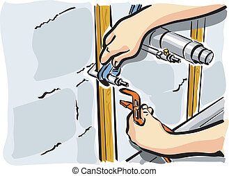 hydraulic - illustration of an plumber at work