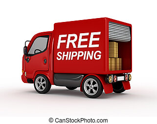 3D Red Van with Free Shipping text isolated