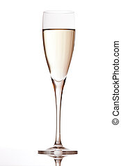 champagne flute with reflection isolated on white