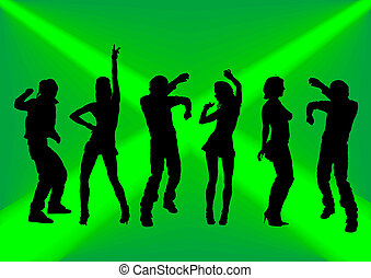 Dancing on a green background