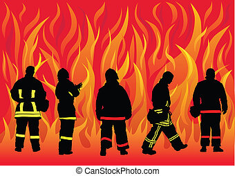 Fire brigade - Vector drawing of fire brigade to a fire....