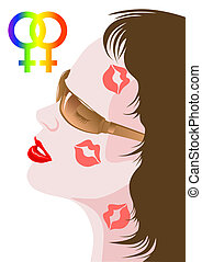 Hot kiss - Vector illustration on the theme of homosexual...
