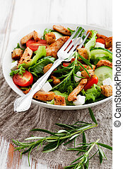 Chicken salad - Salad with roasted chicken, tomatoes and...