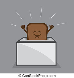Toast Character Toaster - Toast character popping up from...