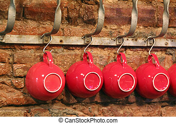 red cups hanging around - cappuccino cup, coffee, hanging,...