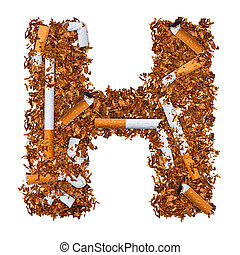Letter H made of cigarettes and dried smoking tobacco