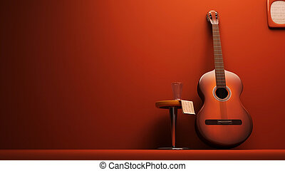 3D Classic Guitar on the wall interior- isolated