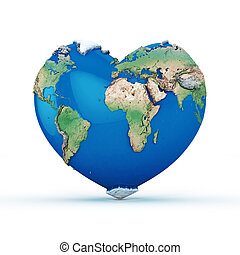 Heart-shaped world 3D Rendered isolated