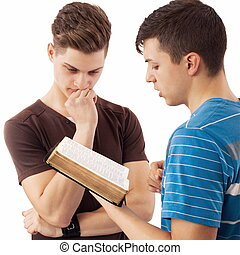 Sharing spiritual truth - Young man that explains Gods word...